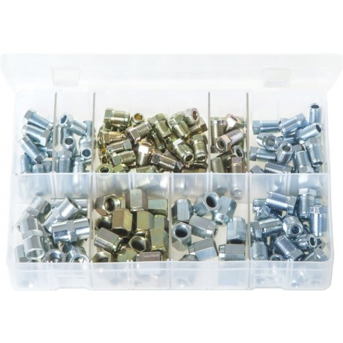 "Assorted Box of Brake Nuts for 3/16"" Pipe - 150 Pieces"