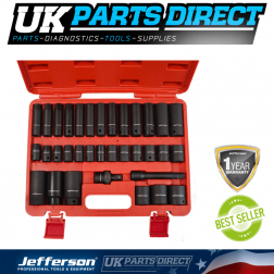 "Jefferson Tools 34 Piece 1/2"" Impact Socket Set"