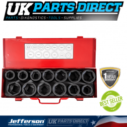 "Jefferson Tools 13 Piece 3/4"" Impact Socket Set"