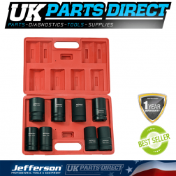 "Jefferson Tools 8 Piece 1"" Deep Impact Socket Set"