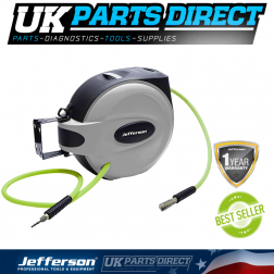 "Jefferson Tools 15M 3/8"" Auto Retracting Hose Reel with High Vis Hybrid Hose"