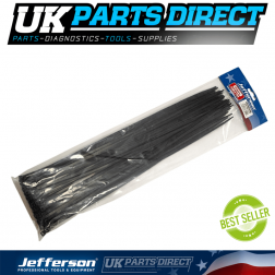Jefferson Tools 2.5mm x 100mm Black Cable Ties (Pack of 100)