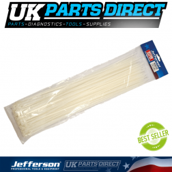 Jefferson Tools 9.0mm x 1220mm White Cable Ties (Pack of 100)