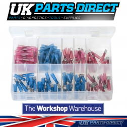 Heat Shrink Terminals - Adhesive Lined - Red & Blue - 130 Pieces - Assorted Box