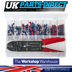 Insulated Terminals - Red & Blue & Crimping Pliers - 206 Pieces - Assorted Box