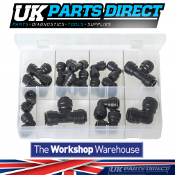 Quick-Fit Couplings - Metric - Elbows + Tees - 17 Pieces - Assorted Box