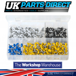 Number Plate Fasteners with Plastic Head - Short - 260 Pieces - Assorted Box