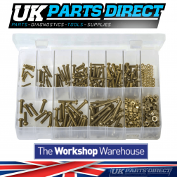 Machine Screws with Nuts - BA Brass - Round Head - Slotted - 410 Pieces