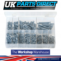 Machine Screws with Nuts & Washers - Metric - Pan Head - Slotted - 840 Pieces