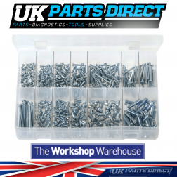 Machine Screws - Metric - Cheese Head - Slotted - 435 Pieces - Assorted Box