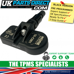 Alfa Romeo 8C TPMS Tyre Pressure Sensor (06-10) - BLACK STEM - PRE-CODED