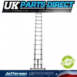 Jefferson Tools 3.8m Safe Close Telescopic Ladder with Stabilising Base Bar