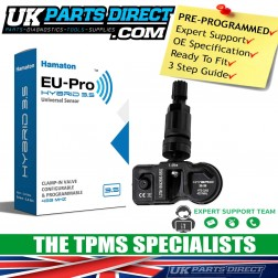 Abarth 595 (14-15) TPMS Tyre Pressure Sensor - BLACK STEM - PRE-CODED - Ready to Fit