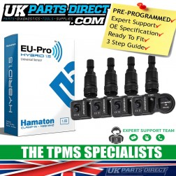 Abarth 595 (14-15) TPMS Tyre Pressure Sensors - SET OF 4 - BLACK STEM - PRE-CODED - Ready to Fit