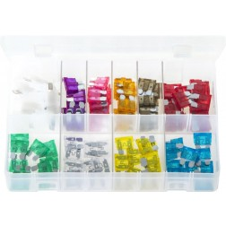 Assorted Box of Standard Blade Fuses with Fuse Holders - 105 Pieces