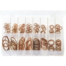 Assorted Box of Copper Sealing Washers - Imperial/BSP - 225 Pieces