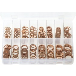 Assorted Box of Copper Sealing Washers - Metric - 250 Pieces