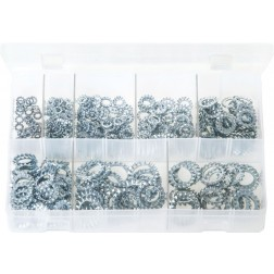 Assorted Box of Lock Washers - Serrated - External - 440 Pieces