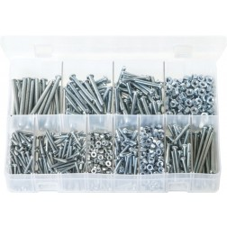 Assorted Box of Machine Screws with Nuts - BA Zinc - Round Head - Slotted - 1025 Pieces