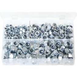 Assorted Box of Nylon Lock Nuts - Metric (Popular Sizes) - 300 Pieces