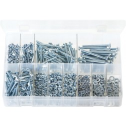 Assorted Box of Machine Screws with Nuts & Washers - Metric - Pan Head - Slotted - 840 Pieces