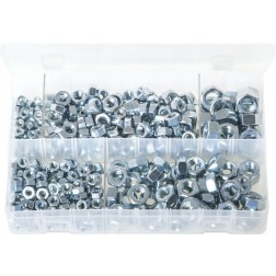 Assorted Box of Steel Nuts - Metric (Popular Sizes) - 370 Pieces
