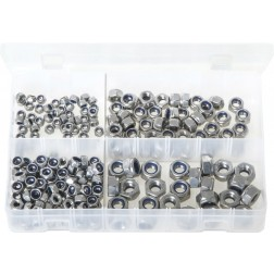 Assorted Box of Stainless Steel Nylon Lock Nuts - Metric - 225 Pieces
