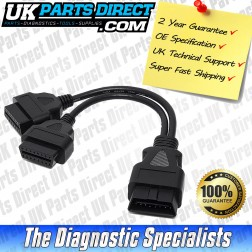 OBD2 Male to OBD2 x 2 Female - 16 to 16 Pin Diagnostic Tool Adapter Lead