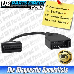 Vauxhall Diagnostic Cable - 12 to 16 Pin OBD2 Diagnostic Tool Adapter Lead