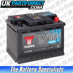 Yuasa AGM STOP START 027 Car Battery - YBX9027 - 4 YEAR GUARANTEE