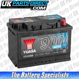 Yuasa AGM STOP START 096 Car Battery - YBX9096 - 4 YEAR GUARANTEE